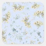 Impresión floral azul y blanca del vintage calcomanía cuadradase