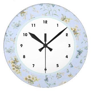 Impresión floral azul y blanca del vintage reloj redondo grande