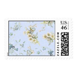 Impresión floral azul y blanca del vintage franqueo