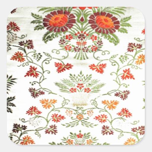 Impresión floral bonita calcomanías cuadradases