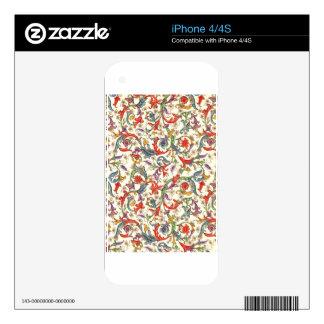 Impresión floral colorida calcomanías para iPhone 4