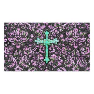 Impresión floral de la cruz del brillo del damasco tarjetas de visita
