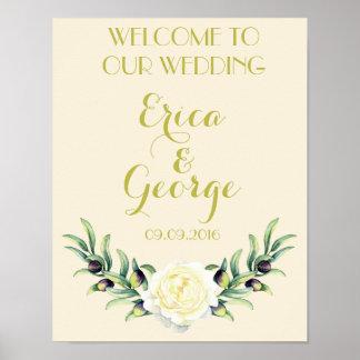 Impresión floral de la muestra del boda de la póster