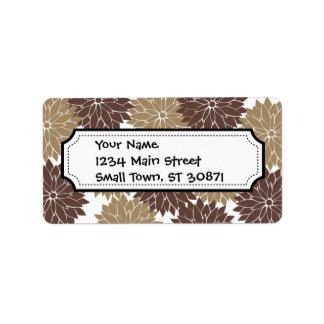Impresión floral de los flores de Brown y de la Etiquetas De Dirección