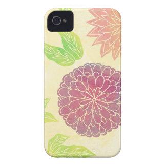 Impresión floral del arándano y del naranja Case-Mate iPhone 4 protectores