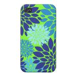 Impresión floral del arte de la flor del azul y de iPhone 4 carcasa