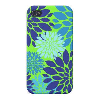 Impresión floral del arte de la flor del azul y de iPhone 4 funda