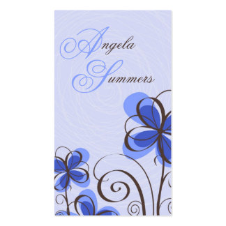 Impresión floral del bosquejo - azul plantilla de tarjeta personal