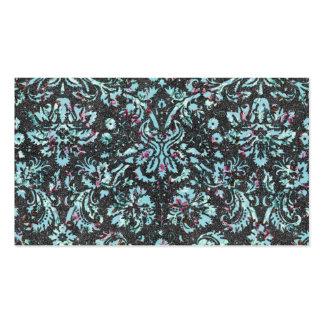 Impresión floral del brillo del damasco del trullo tarjetas de visita