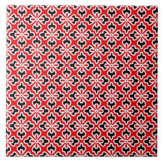 Impresión floral del kimono, rojo, blanco y negro azulejo