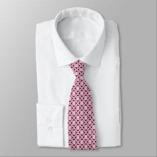 Impresión floral del kimono, rosa, blanco y negro corbatas personalizadas