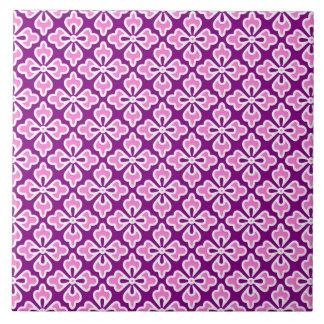 Impresión floral del kimono, rosa de la orquídea y teja  ceramica