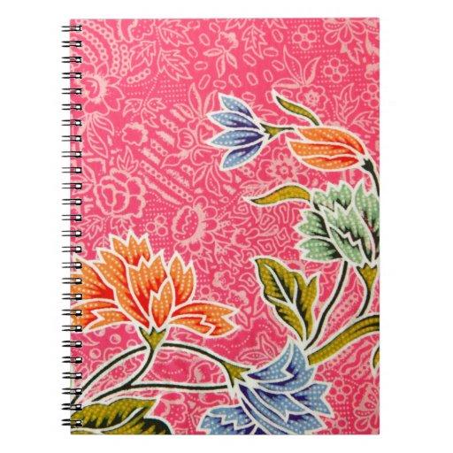 Impresión floral del rosa, del naranja y del azul libros de apuntes
