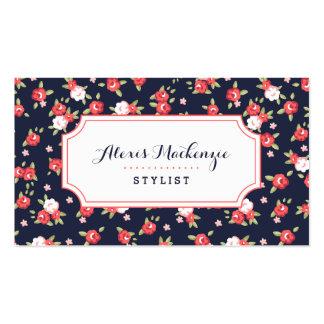 Impresión floral elegante del vintage del coral y tarjetas de visita