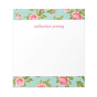 Impresión floral femenina de los rosas del vintage bloc de papel