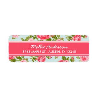 Impresión floral femenina de los rosas del vintage etiqueta de remite