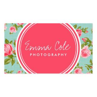 Impresión floral femenina de los rosas del vintage tarjetas de visita