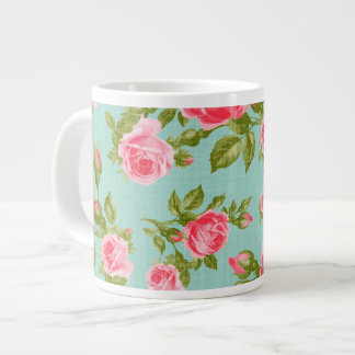 Impresión floral femenina de los rosas del vintage taza de café grande