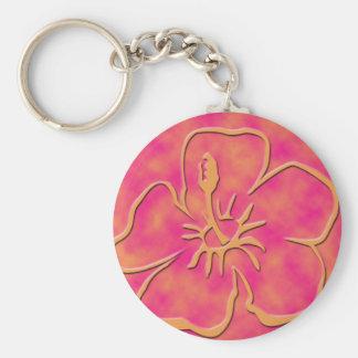 Impresión floral hawaiana anaranjada y rosada llavero redondo tipo pin