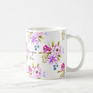 Impresión floral incompleta moderna taza