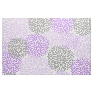 Impresión floral moderna gris púrpura de la dalia telas