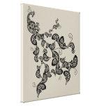 Impresión floral negra de la lona de arte de Deco  Impresión En Lienzo Estirada