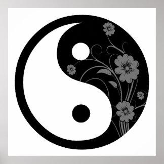 Impresión floral negra del poster de Yin Yang