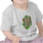 impresión floral real del arte del clarín del camiseta