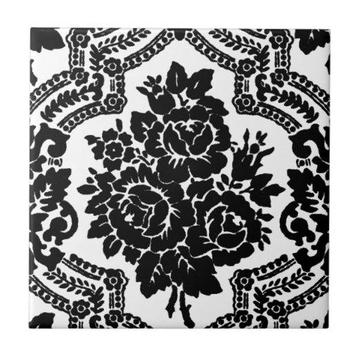 Impresión floral retra del victorian, blanco y neg tejas  cerámicas