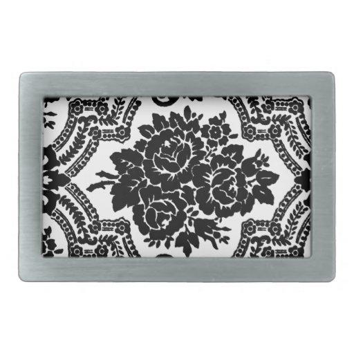Impresión floral retra del victorian, blanco y neg hebillas de cinturón rectangulares