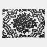 Impresión floral retra del victorian, blanco y neg toalla de cocina
