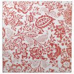 Impresión floral roja y blanca del vintage servilletas de papel