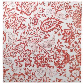 Impresión floral roja y blanca del vintage servilleta imprimida