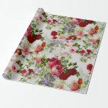 Impresión floral roja y rosada del vintage de moda papel de regalo