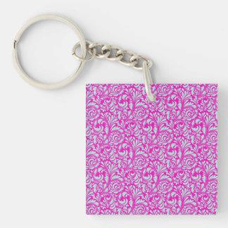 Impresión floral rosada elegante bonita del llavero cuadrado acrílico a doble cara