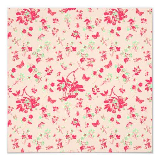 Impresión floral rosada y verde clara impresiones fotograficas