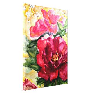 Impresión floral subió floreciente de la lona de