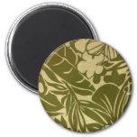 Impresión floral verde del vintage imanes de nevera