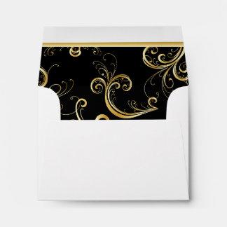 Impresión florida de oro brillante alineada sobres