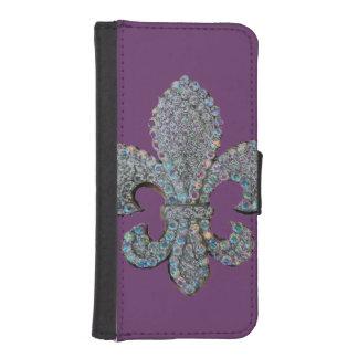 Impresión flotante de la flor de lis funda tipo billetera para iPhone 5