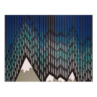 Impresión formada lluviosa azul de las montañas de tarjeta postal