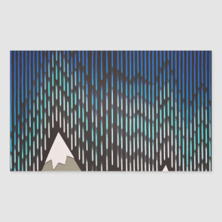 Impresión formada lluviosa azul de las montañas rectangular pegatina