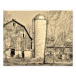Impresión fotográfica blanco y negro del granero 1