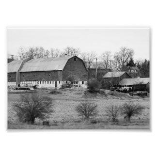 Impresión fotográfica blanco y negro del granero 7 cojinete
