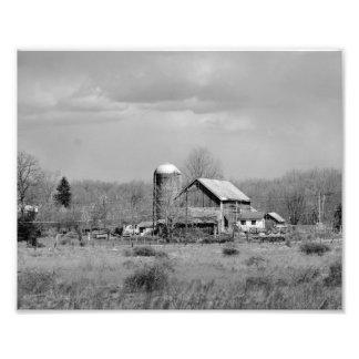 Impresión fotográfica blanco y negro vieja del gra fotografía