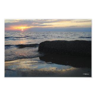 Impresión fotográfica de la puesta del sol del lag