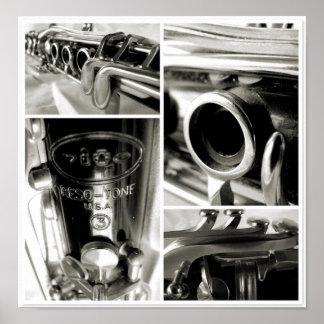 Impresión fotográfica de las piezas de un Clarinet