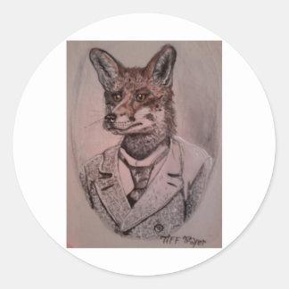impresión fox.jpg pegatina redonda