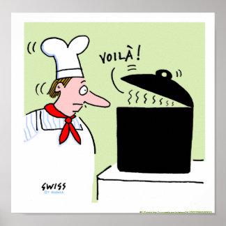 Impresión francesa de la cocina del dibujo animado póster