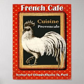 Impresión francesa del arte del café del gallo póster